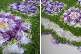Receita - tapete verde com flores roxas