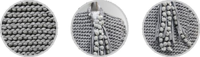 Detalhes bolsa cinza
